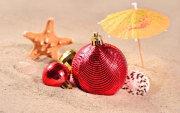 Картинка праздничные шары новый год игрушки украшения sea shore sand море пляж песок ракушки beach