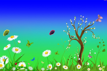 обоя векторная графика, природа , nature, дерево, цветы, бабочки