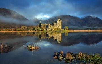обоя разное, развалины,  руины,  металлолом, горы, озеро, замок