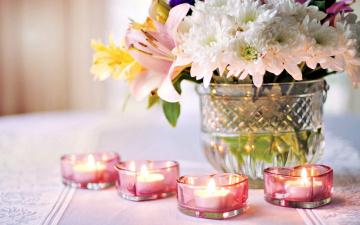 обоя разное, свечи, огоньки, букет, хризантемы, сердечки
