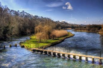 Картинка река+тест+англия природа реки озера деревья тест река англия мост