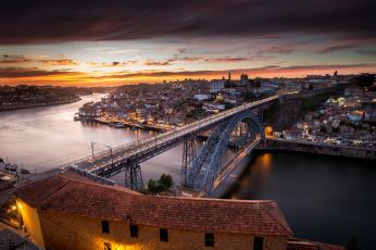 обоя porto, города, - мосты, рассвет