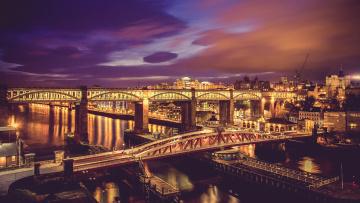 обоя города, - мосты, огни, вечер, мосты, мост, река