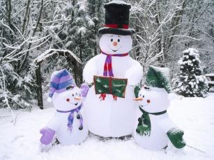 обоя праздничные, снеговики
