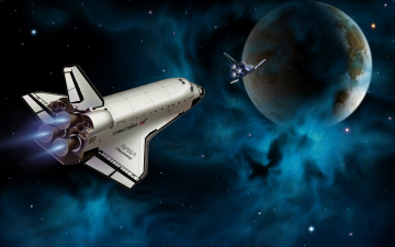 Картинка космос арт полет звезды планета