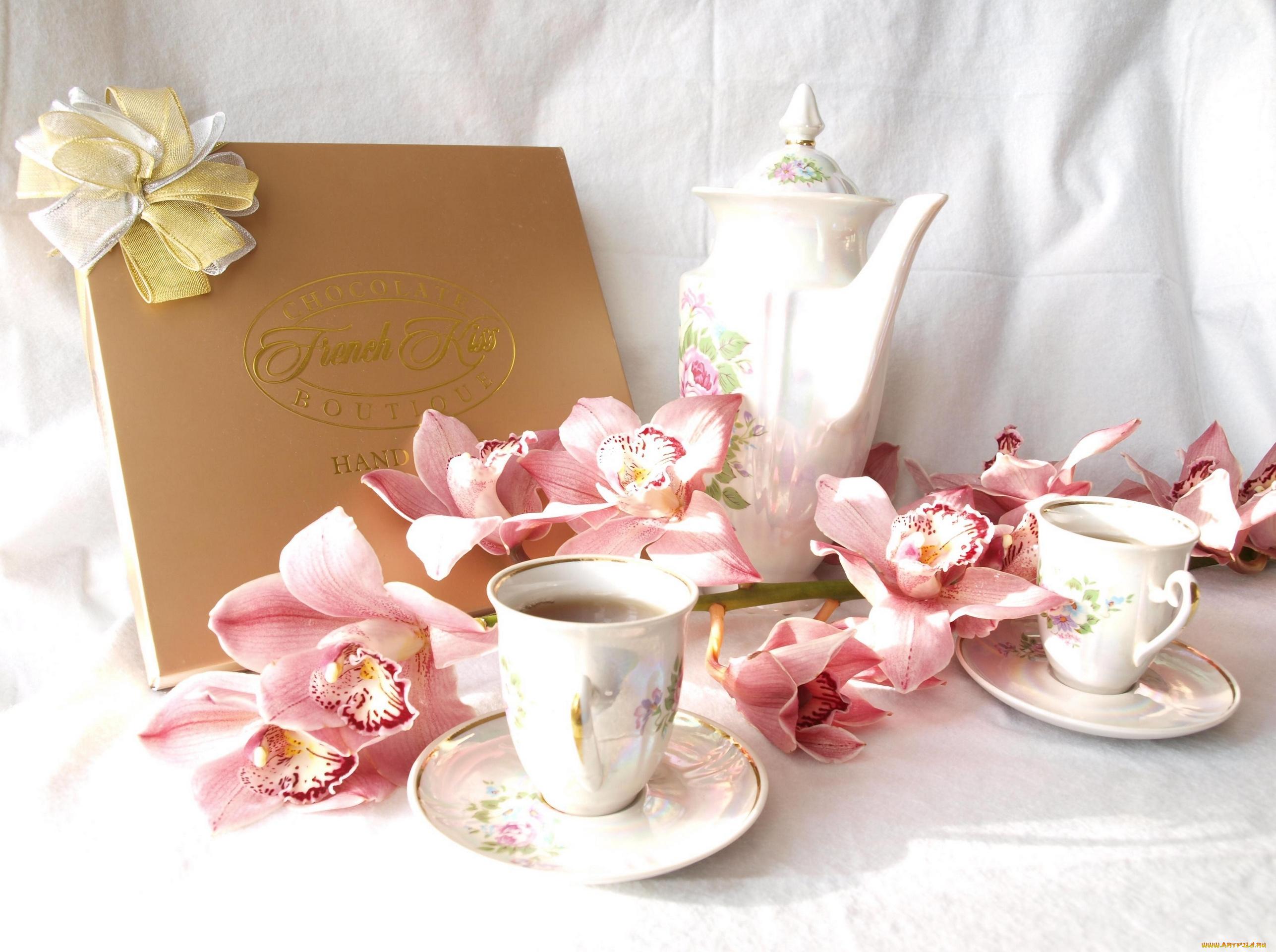 Сделать, открытки чай и цветы
