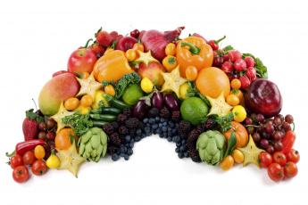 Картинка еда фрукты овощи вместе перец помидоры баклажаны виноград яблоки груши