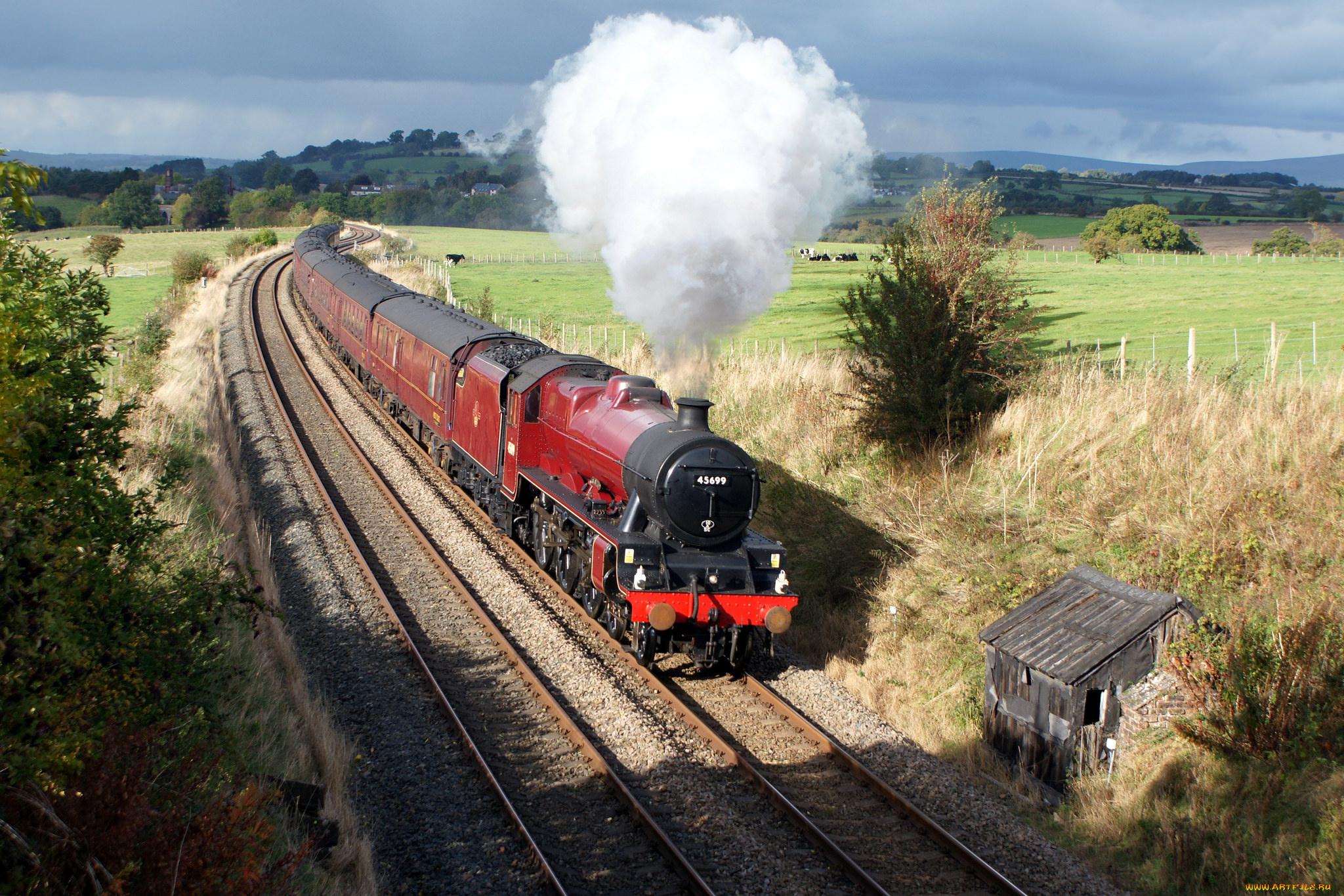 Картинки железных дорог с поездом