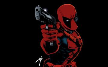 Картинка рисованное комиксы дэдпул пистолет