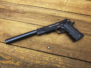 обоя оружие, пистолеты, глушителемглушители, доски, colt, rail, gun, пистолет, глушитель