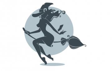 Картинка рисованные минимализм halloween праздник силуэт шляпа метла летучая мышь