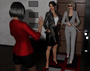 обоя spy games revenge, 0д графика, мысль , fantasy, девушки, взгляд, фон