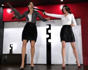 обоя spy games revenge, 0д графика, выдумка , fantasy, взгляд, фон, девушки