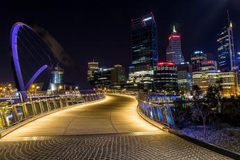 обоя австралия, города, - огни ночного города, мост, деревья, здания, ночь, небоскреб, освещение