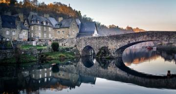 обоя франция, города, - мосты, лодки, деревья, здания, водоем