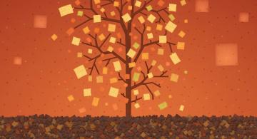 обоя векторная графика, природа , nature, прямоугольник, краски, листья, дерево