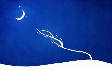 обоя векторная графика, природа , nature, луна, дерево, снег