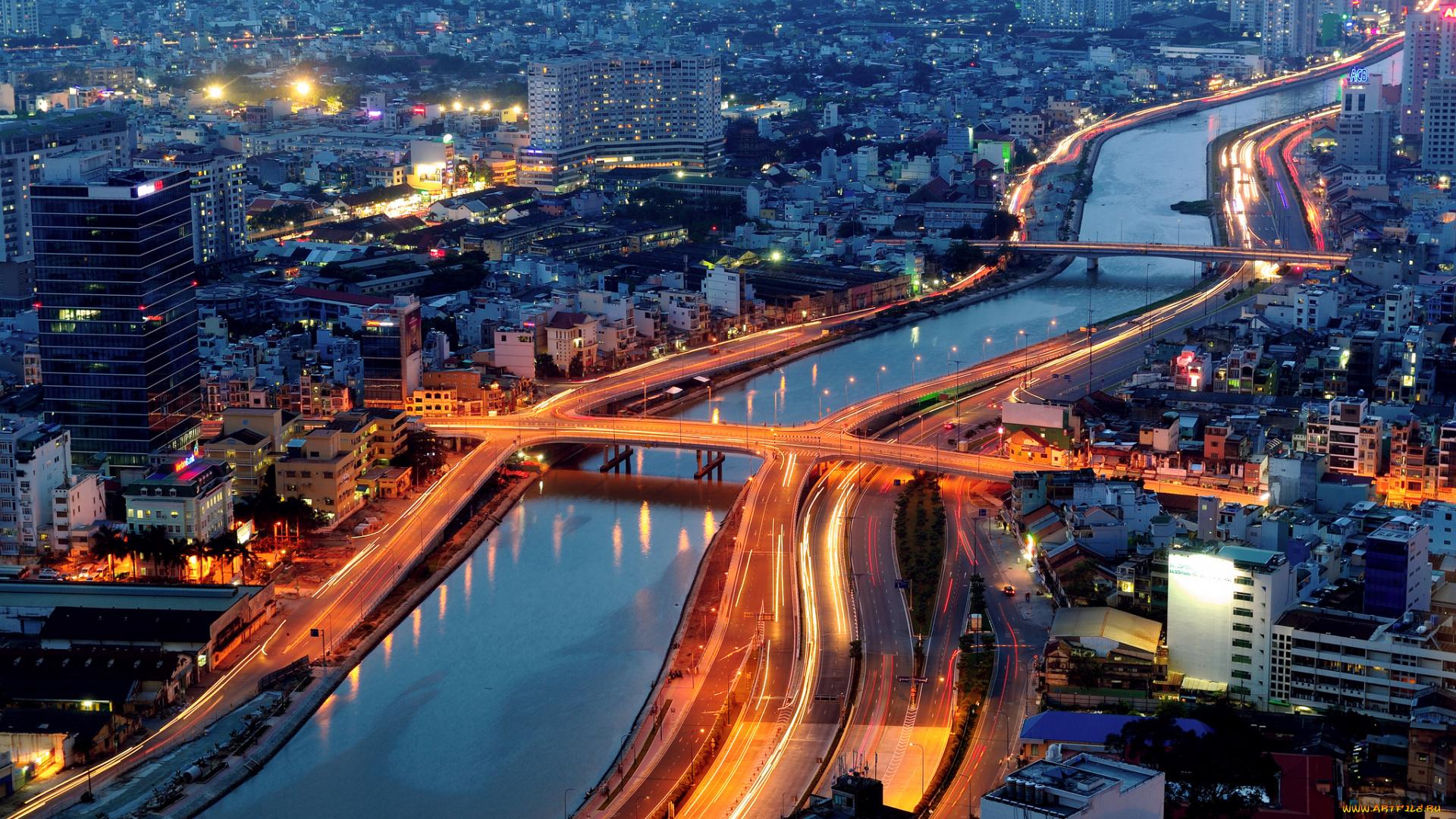 Хошимин Вьетнам ночь огни без смс