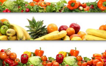 Картинка еда фрукты овощи вместе помидоры перец бананы яблоки