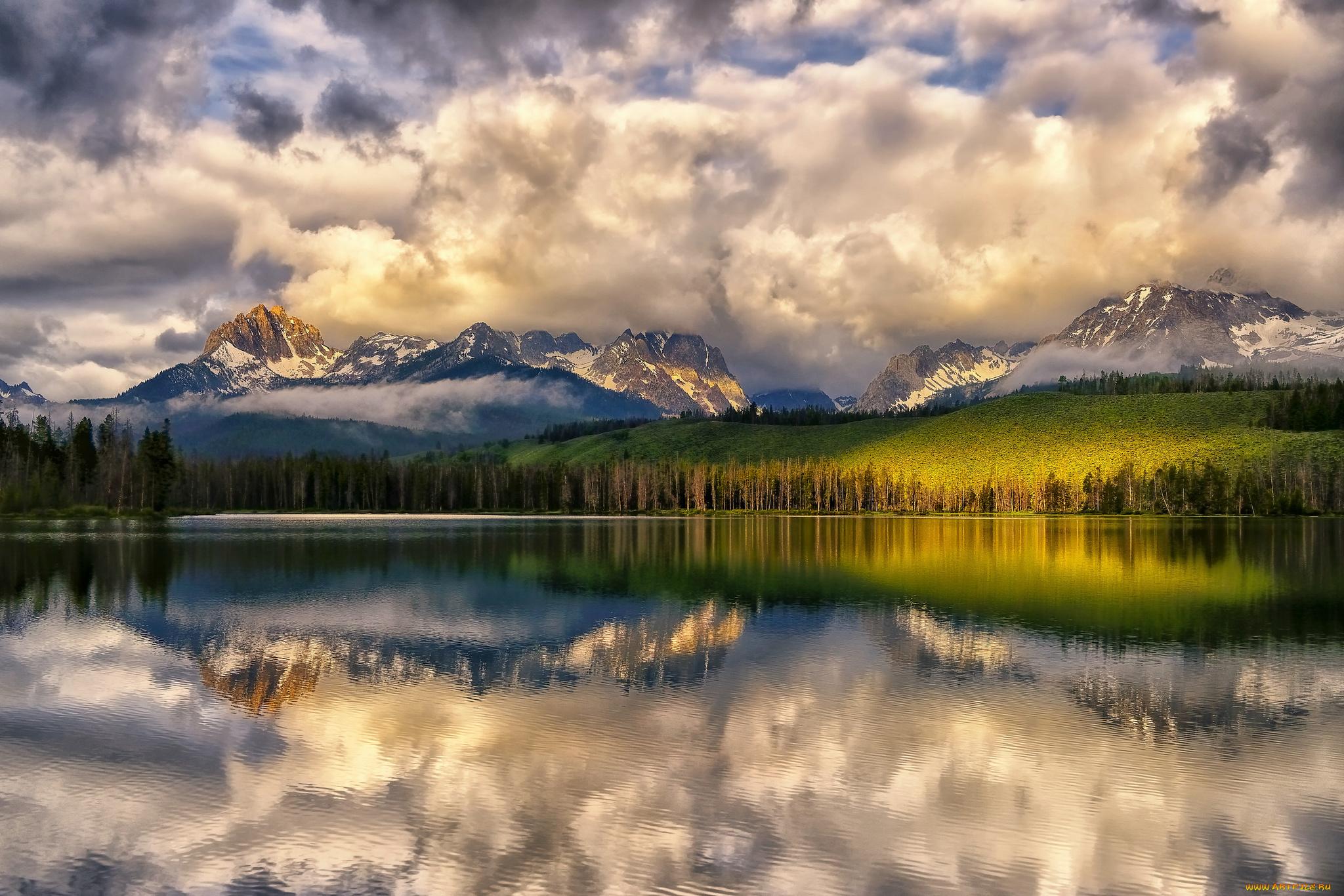 природа река горы небо облака отражение  № 2503183  скачать