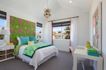 обоя интерьер, детская комната, стол, мебель, детская, комната, дизайн, стиль, кровать, светильник