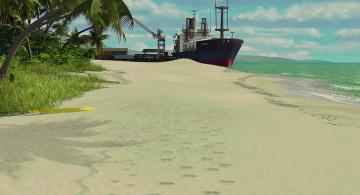 обоя рисованное, - другое, водоем, песок, корабль, растения, деревья
