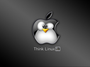 обоя think, linux, компьютеры