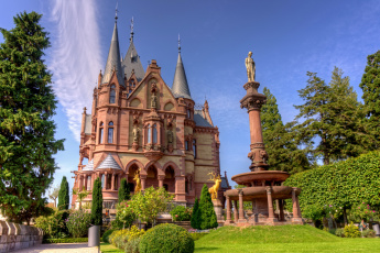Картинка замок+драхенбург+германия города замки+германии парк германия драхенбург замок