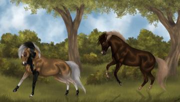 обоя рисованное, животные,  лошади, фон, лошади