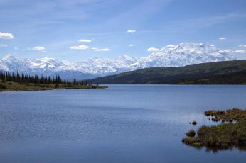 Картинка wonder lake denali national park alaska природа реки озера range национальный парк денали аляска аляскинский хребет озеро вондер горы водная гладь