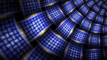 Картинка 3д графика fractal фракталы синий свечение плетение линии