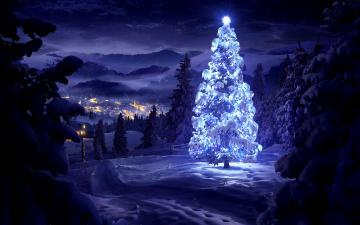 обоя праздничные, Ёлки, рождество, новый, год, природа, пейзаж, зима, деревья, дома, огни, горы, долина, ночь, снег