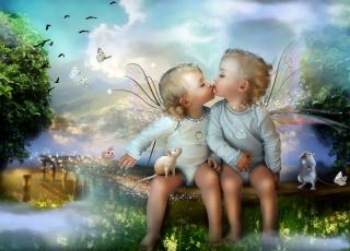 Картинка фэнтези фотоарт малыши поцелуй сказка