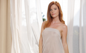 Natural redhead Mia Sollis strips naked on a blanket in backyard  1797203
