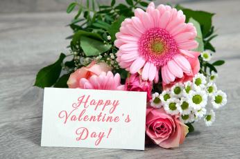 обоя праздничные, день святого валентина,  сердечки,  любовь, пожелание, записка, букет
