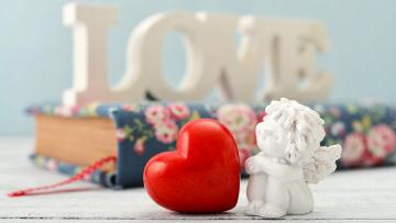 обоя праздничные, день святого валентина,  сердечки,  любовь, ангел, сердце, надпись, книга