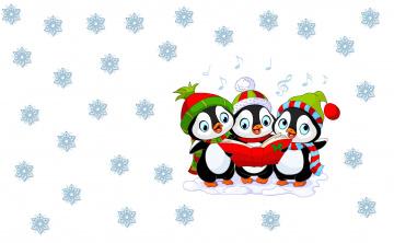 обоя праздничные, векторная графика , новый год, новый, год, настроение, детская, зима, арт, шапочка, праздник, снежинка, пингвин, минимализм