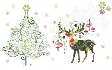 обоя праздничные, векторная графика , новый год, олень, снежинки, игрушки, арт, праздник, ёлочка, вектор, минимализм
