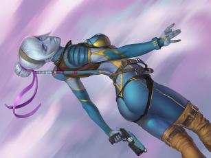 Картинка фэнтези девушки портупея рисунок арт art комбинезон пистолет девушка падение белые волосы ленты фантастика sci-fi оружие by nutfullin