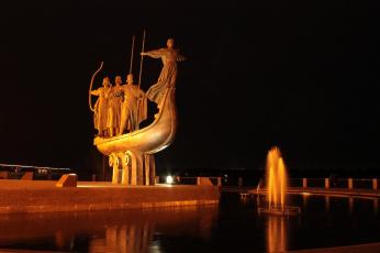Картинка города -+памятники +скульптуры +арт-объекты основатели набережная днепр памятник ночной город киев