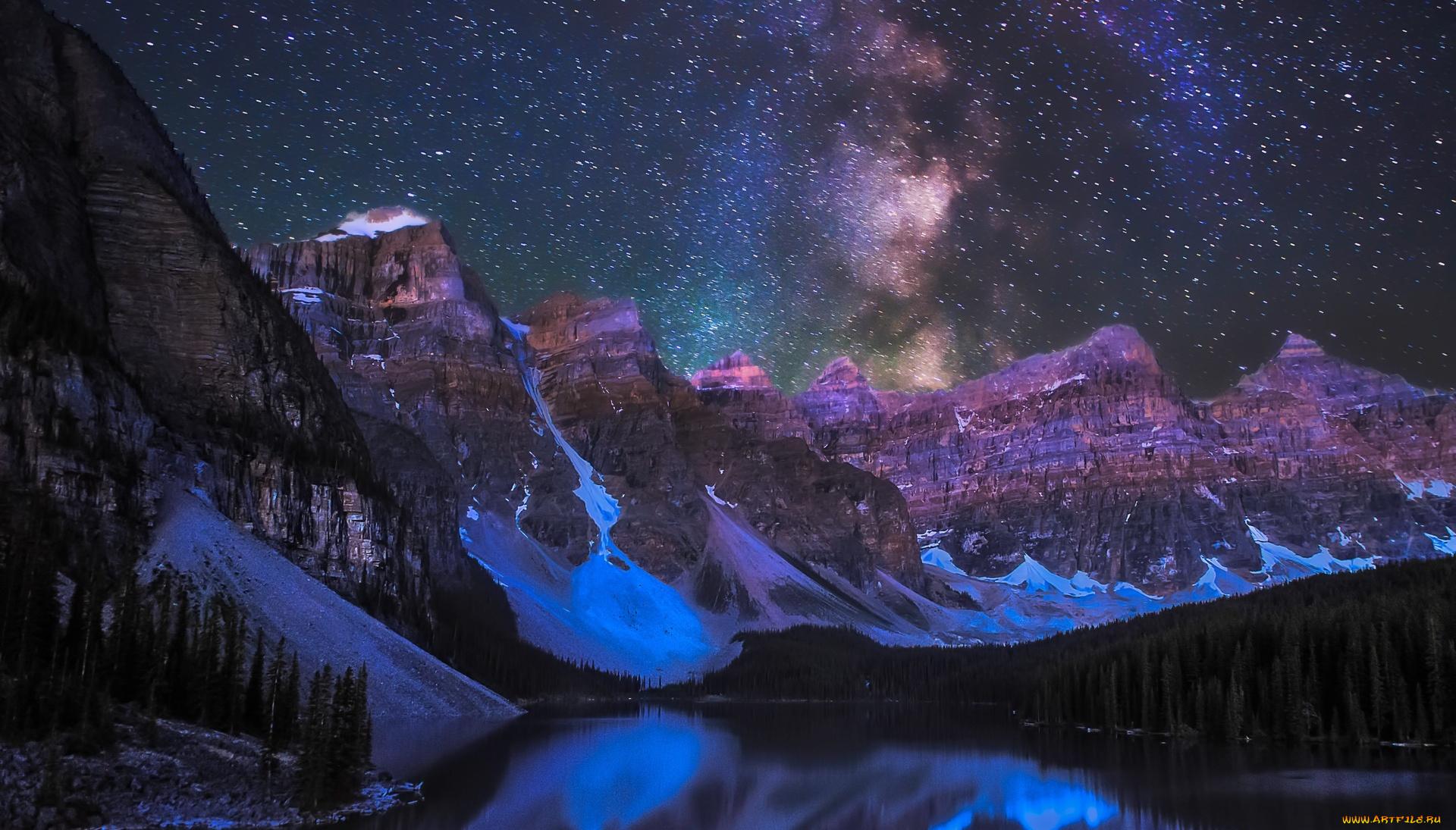 природа космос горы скалы небо звезды ночь  № 851828 бесплатно