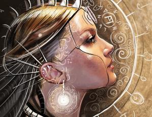 обоя фэнтези, роботы,  киборги,  механизмы, профиль, фантастика, шипы, узоры, арт, девушка