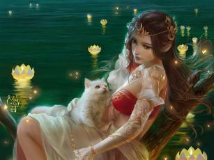 обоя фэнтези, девушки, девушка, котенок, озеро, лотос