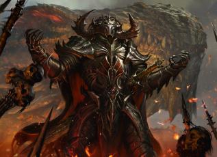 обоя фэнтези, демоны, череп, оружие, копьё, кольчуга, латы, дракон, рыцарь