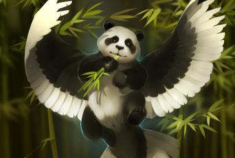 обоя рисованное, животные,  сказочные,  мифические, бамбук, панда, art, gaudibuendia, фентези, александра, хитрова, крылья, арт