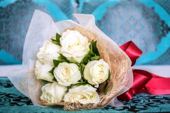 обоя цветы, розы, упаковка, лента, букет