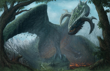 обоя фэнтези, драконы, крылья, дракон, лес, огонь, пасть, сказочный