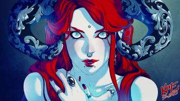 обоя фэнтези, демоны, узоры, рога, демоница, кольцо, арт, пирсинг, фантастика, взгляд