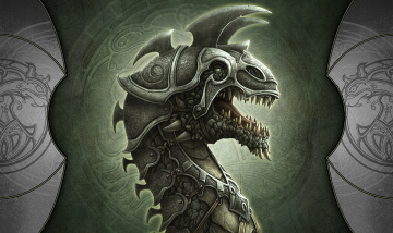 обоя фэнтези, демоны, пасть, голова, доспехи, дракон