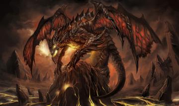 обоя фэнтези, драконы, монстр, дракон, пламя, пасть, крылья, чудище